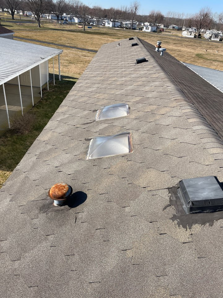 Medway, OH - Estimate to replace a shingle roof and leaking skylights with CertainTeed shingles and Velux skylights in Medway, Ohio.