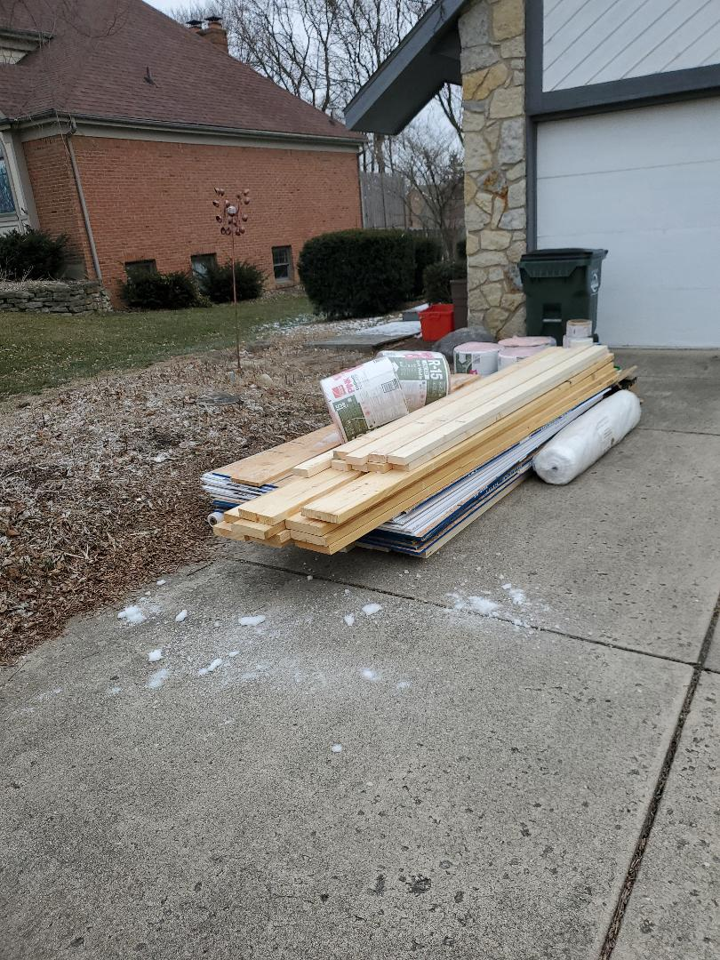 Middletown, OH - Material delivery for siding repair in Middletown, Ohio.