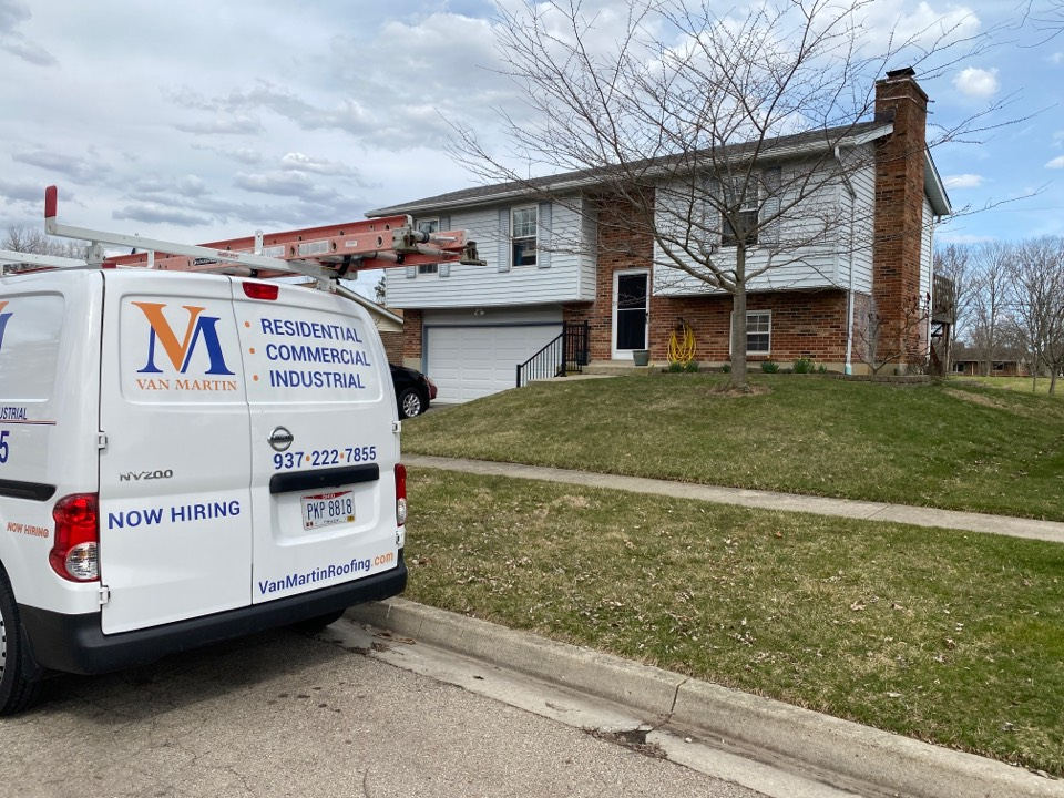 Vandalia, OH - Meeting with a customer for a roof replacement in Vandalia, Ohio.