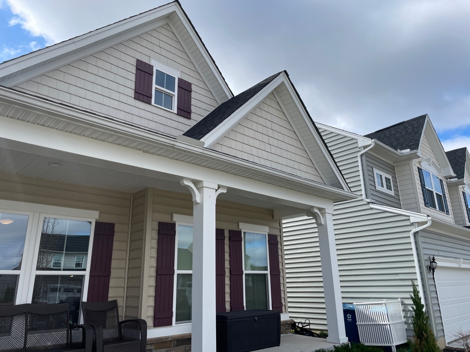 Tipp City, OH - Replacing gutters on a home with seamless gutters in Tipp City, Ohio.