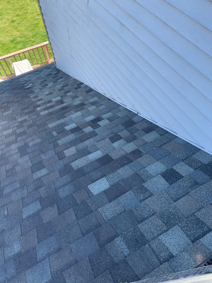 Vandalia, OH - Wind damaged shingle roof repair in Vandalia, Ohio.