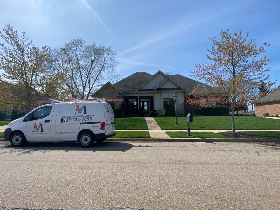 Xenia, OH - Providing a customer with an estimate for gutter replacement in Xenia, Ohio.