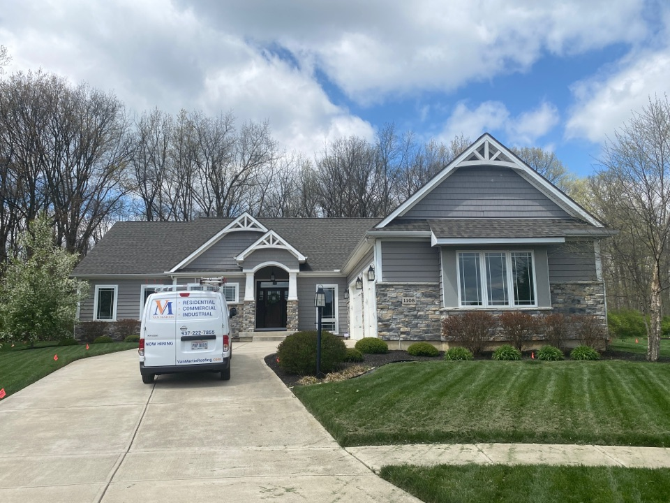 Centerville, OH - Meeting with a customer for a shingle roof leak inspection in Centerville, Ohio.