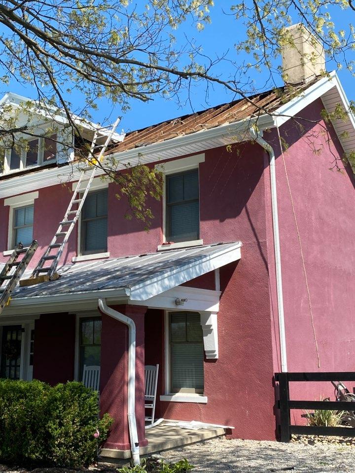 Lebanon, OH - Inspecting progress on a full roof replacement using CertainTeed Landmark shingles in Lebanon, Ohio.