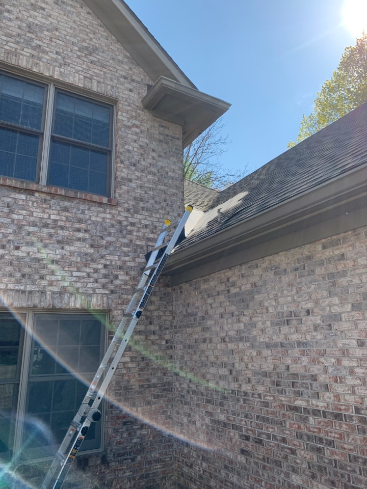 Yellow Springs, OH - Installing a rubber pan on a shingle roof in Yellow Springs, Ohio.
