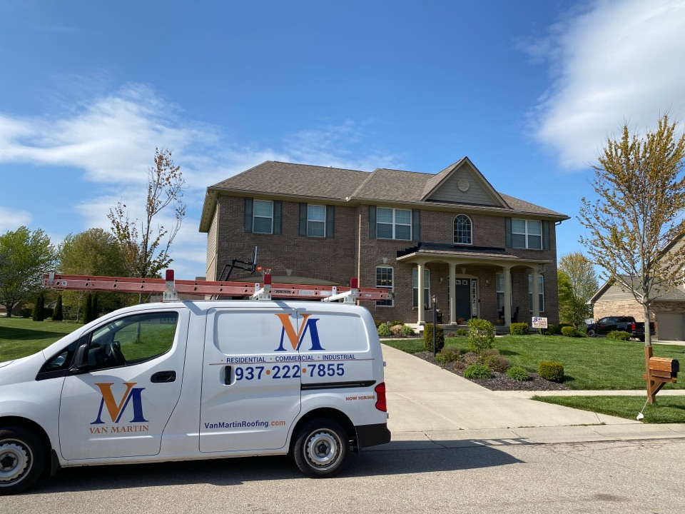 Bellbrook, OH - Meeting with a customer to provide an estimate for a shingle roof leak repair in Bellbrook, Ohio.