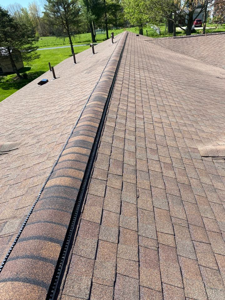 Bellbrook, OH - Installed an Omni roll ridge vent in Sugar Creek Township, Ohio.