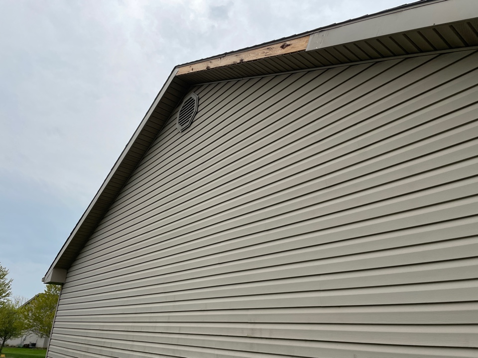Troy, OH - Free estimate to repair and replace gable fascia metal that fell off of a home in Troy, Ohio.