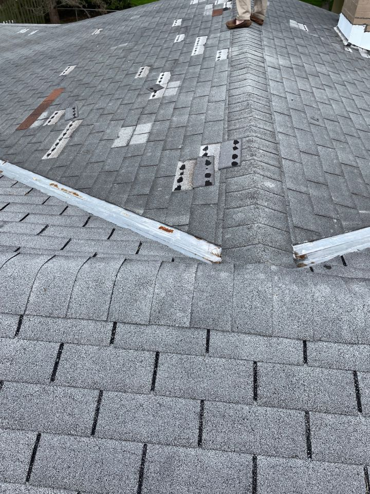 Troy, OH - Insurance adjustment following wind damage on a shingle roof in Troy, Ohio.