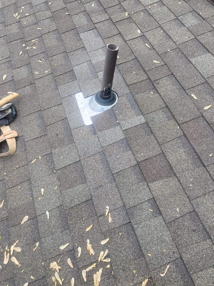 Dayton, OH - Replaced a 2-inch pipe boot and installed Oak Ridge drift wood shingles in Centerville, Ohio.