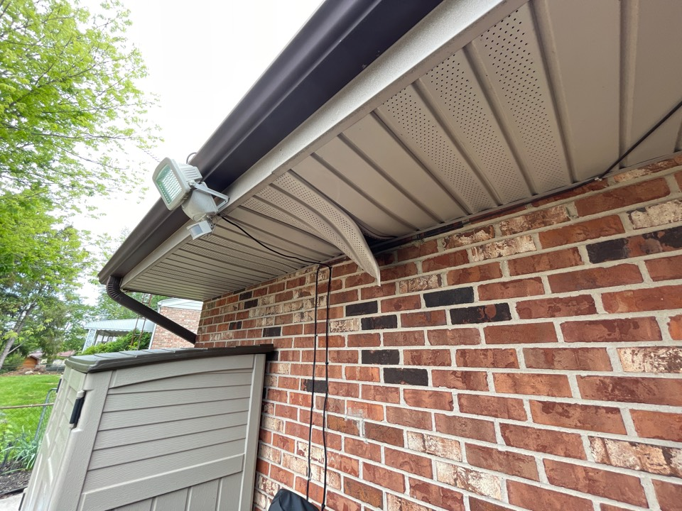 Englewood, OH - Free estimate to repair damaged soffit on a home in Englewood, Ohio.