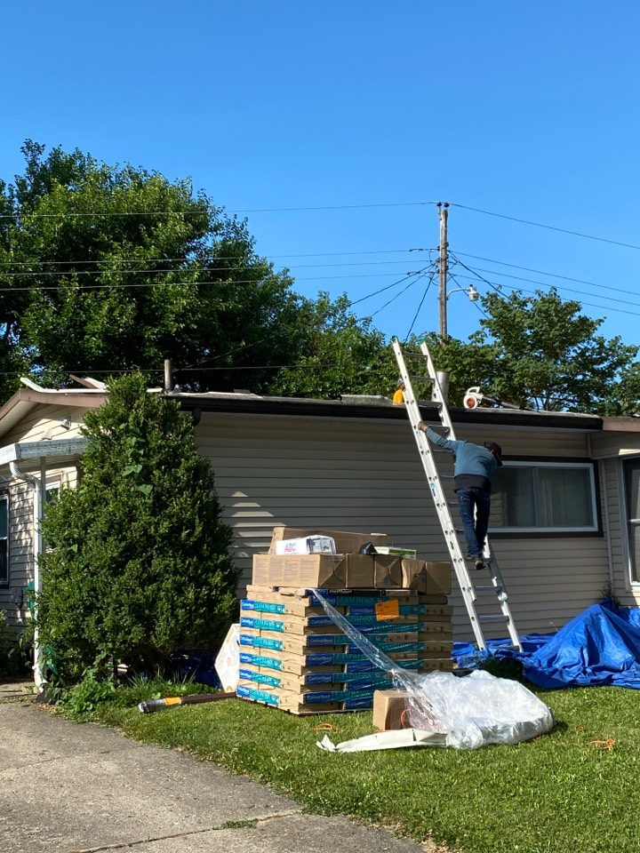 New Carlisle, OH - Full roof replacement using CertainTeed Landmark shingles in New Carlisle, Ohio.