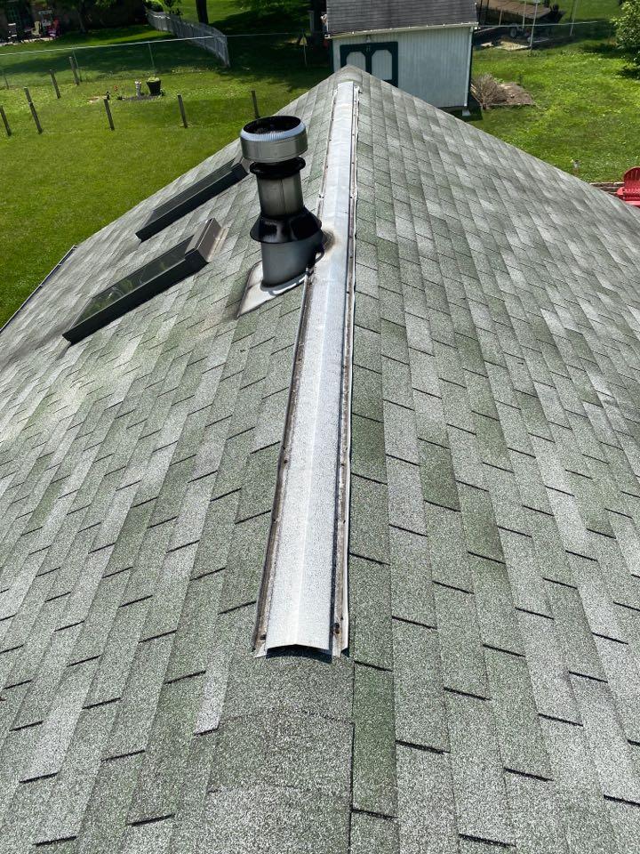 Beavercreek, OH - Wind damaged ridge vent repair in Beavercreek, Ohio.
