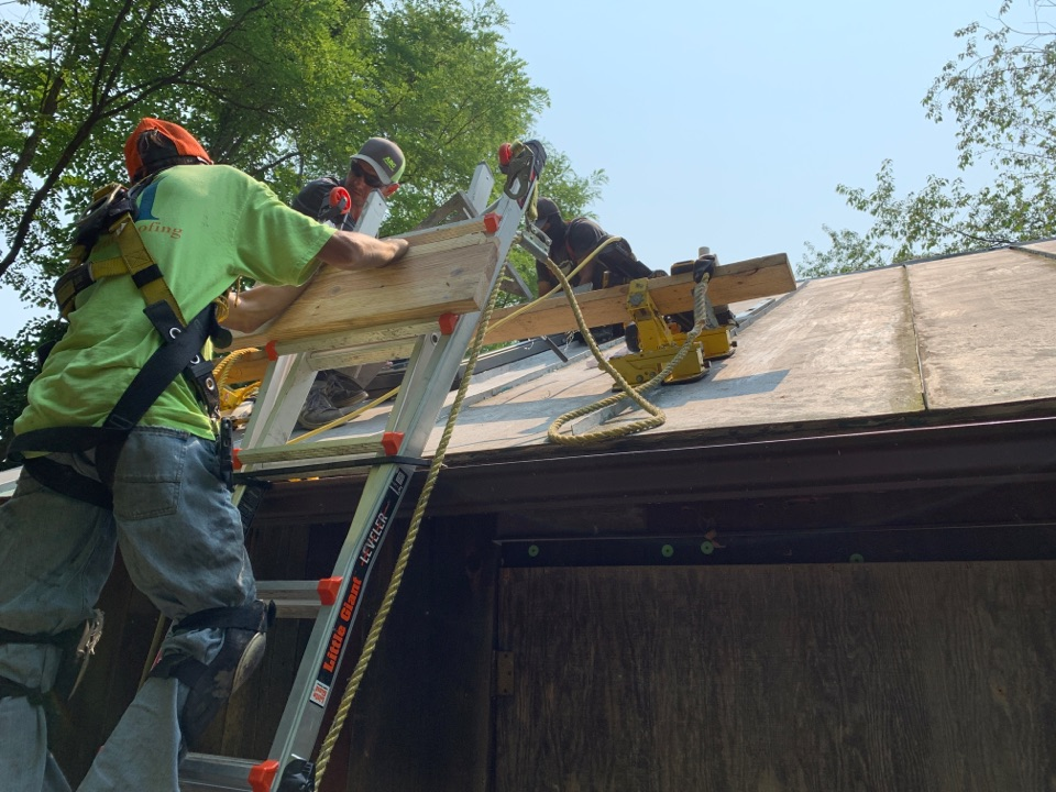Yellow Springs, OH - Checking progress on a Velux Skylight installation in Yellow Springs, Ohio.