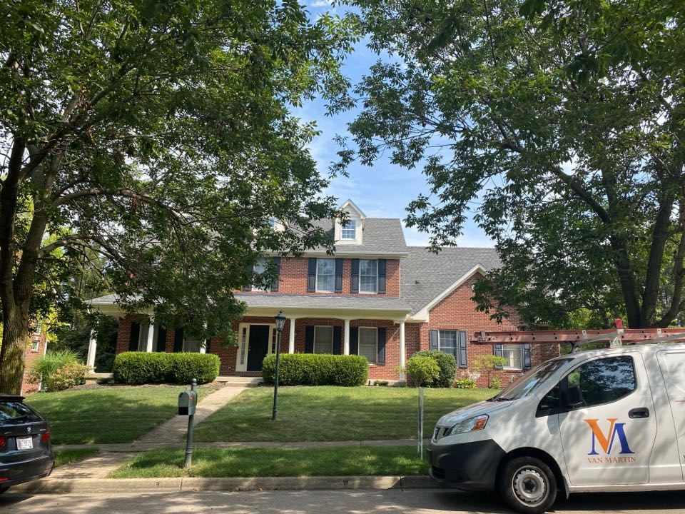 Xenia, OH - Meeting with a customer for a roof inspection in Xenia, Ohio.