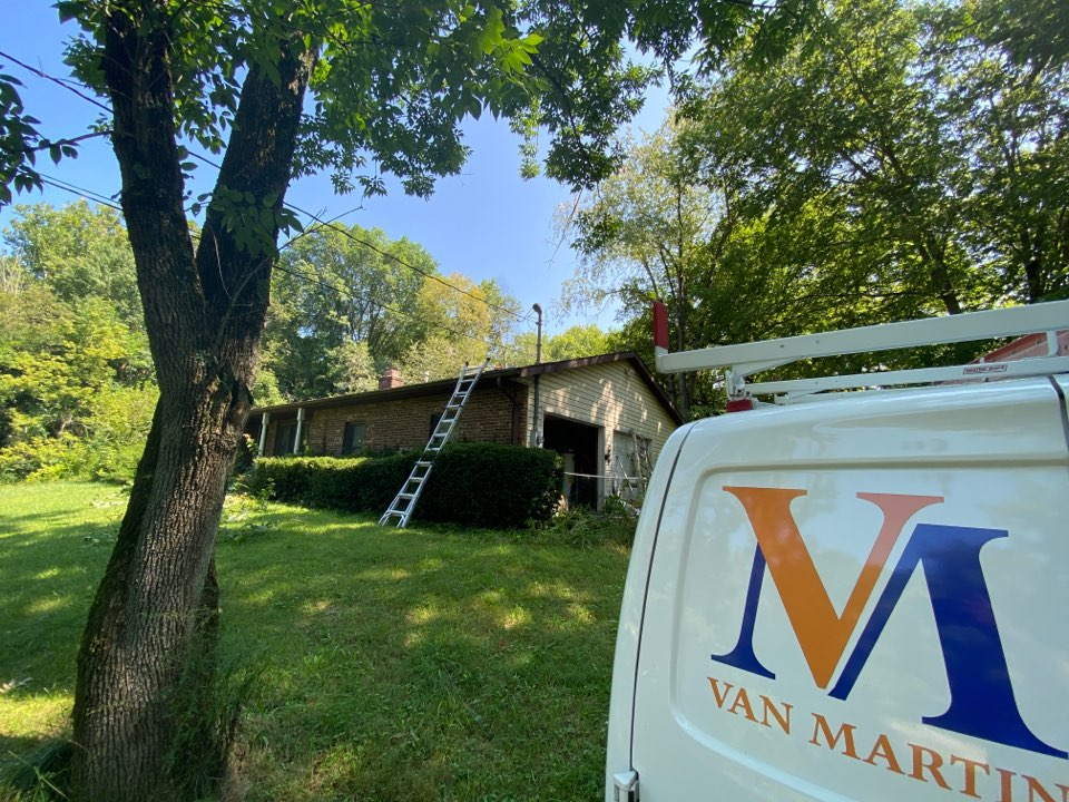 New Carlisle, OH - Meeting with a customer for a metal roof replacement in New Carlisle, Ohio.