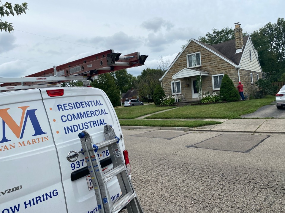 Fairborn, OH - Meeting with a customer for a roof inspection in Fairborn, Ohio.