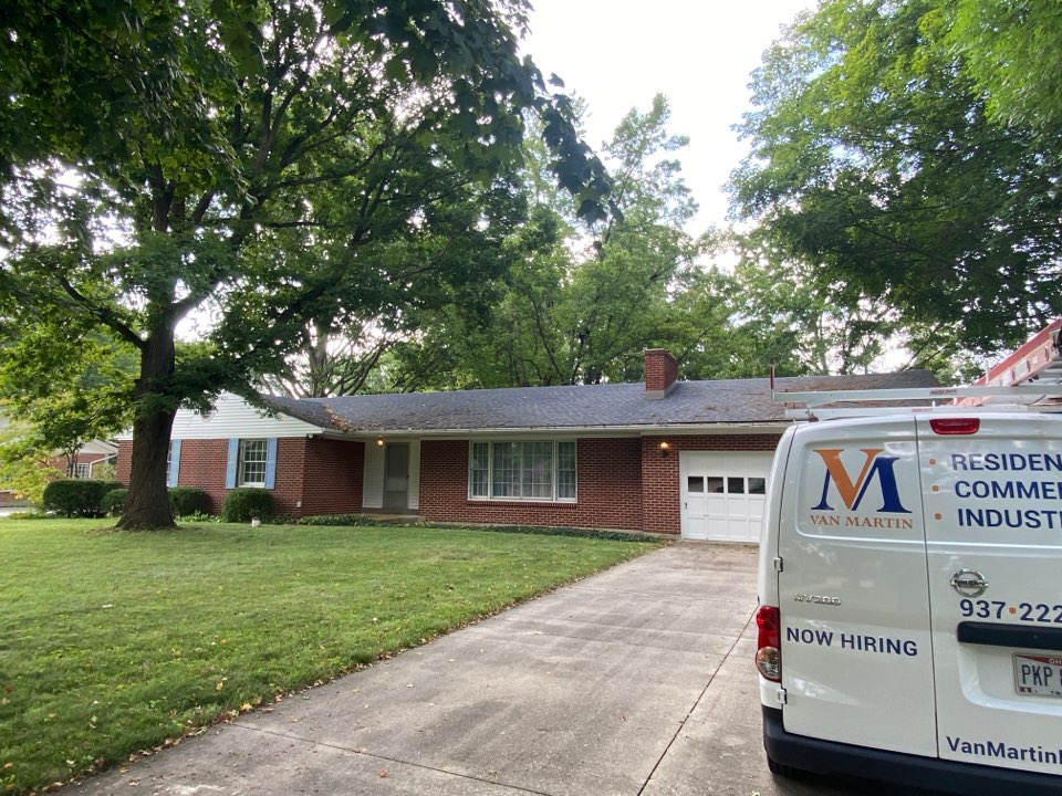Beavercreek, OH - Meeting with a customer for a gutter replacement in Beavercreek, Ohio.