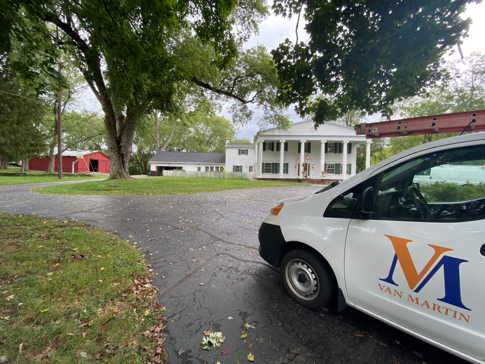 Dayton, OH - Meeting with a customer for a metal roof repair in Kettering, Ohio.