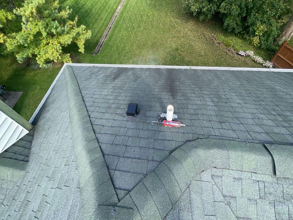 Free estimate to repair leaking asphalt roof in Englewood, Ohio.