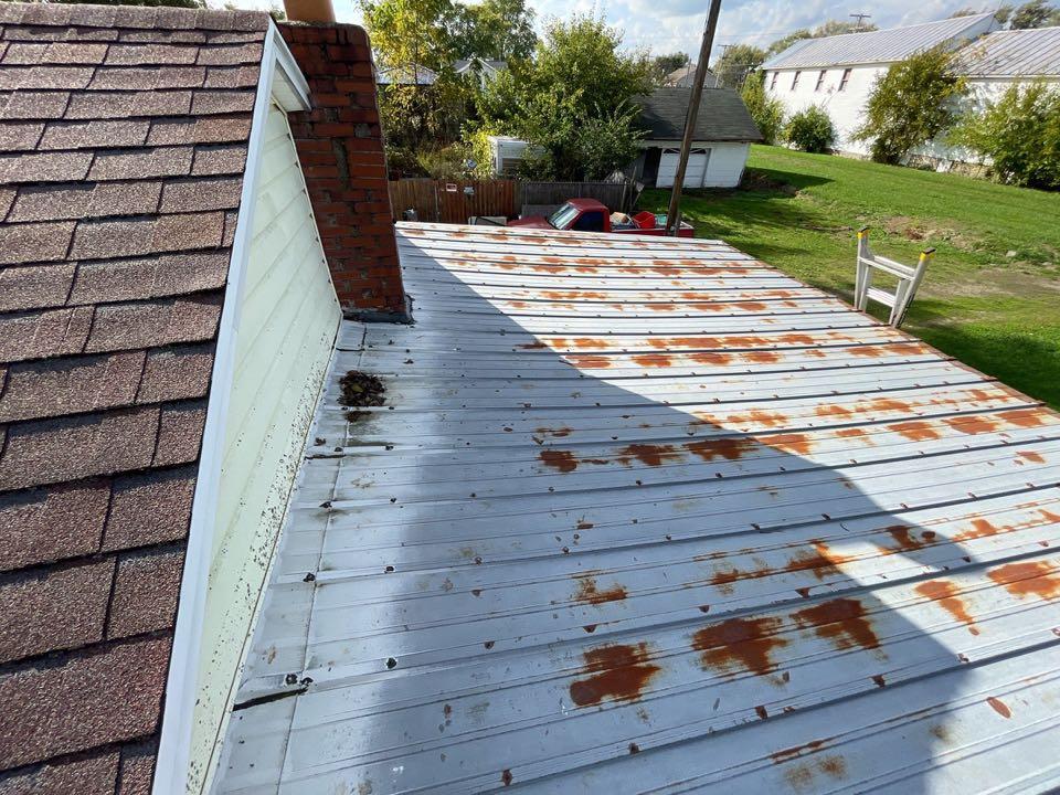 Free estimate to repair or replace multiple leaking metal roofs in Eldorado, OH.