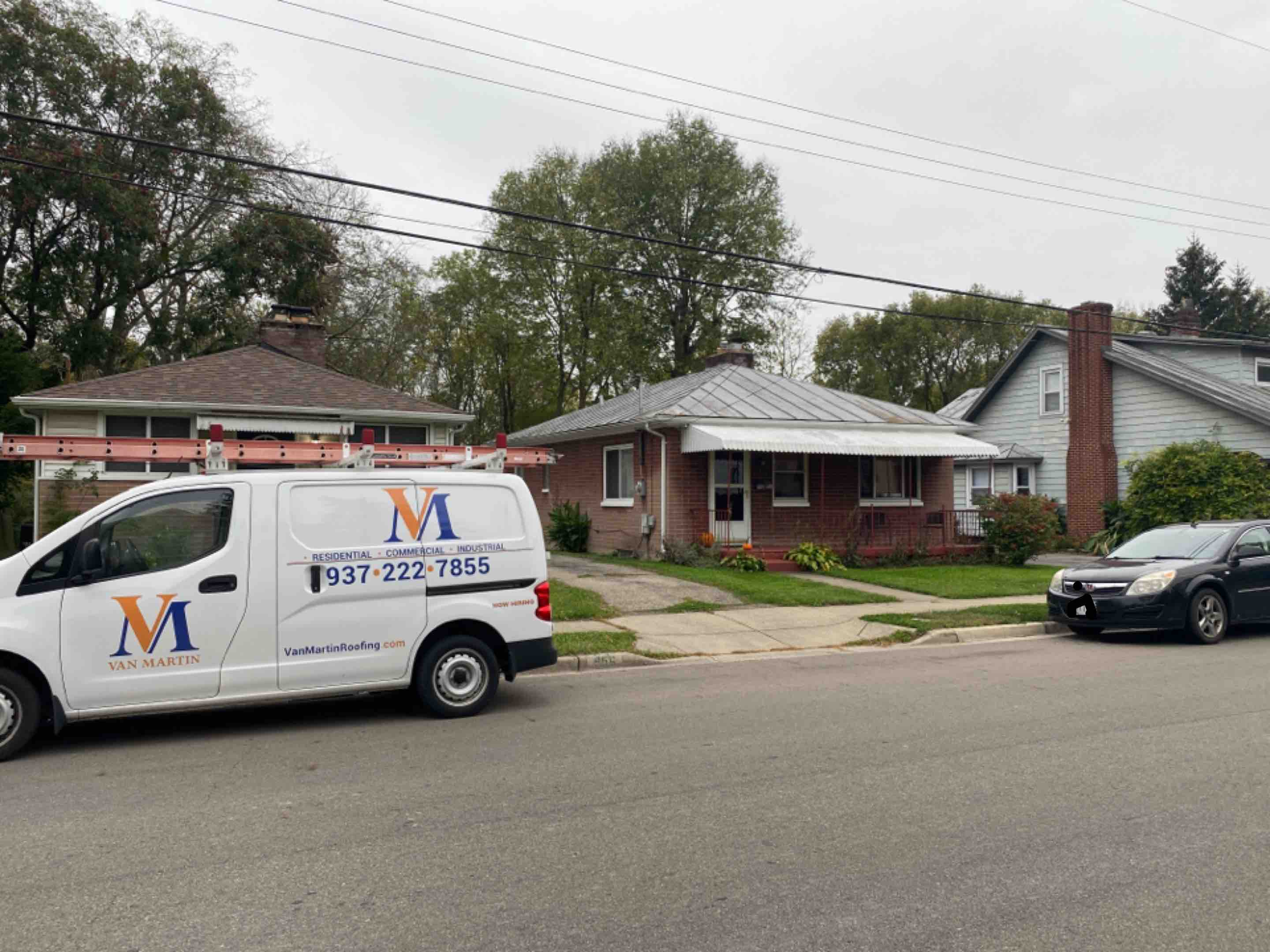 Miamisburg, OH - Meeting with a customer for a roof inspection in Miamisburg, Ohio.