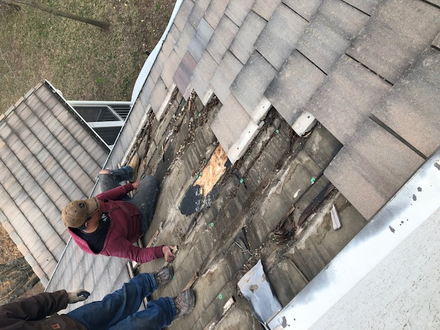 Shawnee, KS - Tile Roof Repair. Slow leak causes major damage on concrete tile roof.