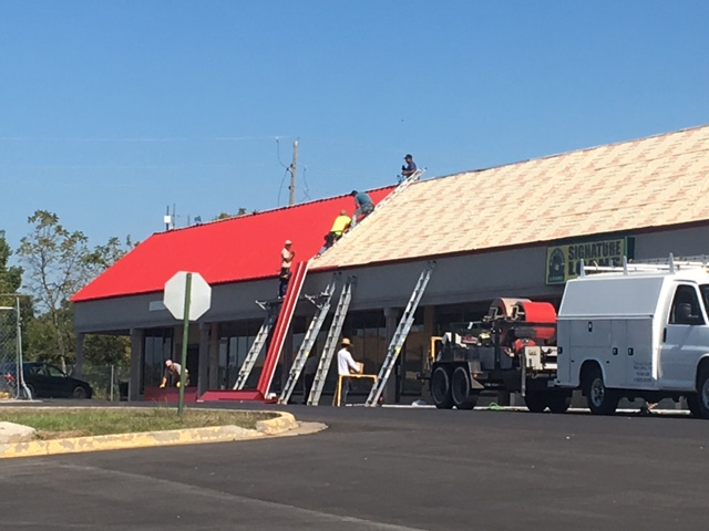 Kansas City, MO - Installing A new Standing Seam on a Shopping Center