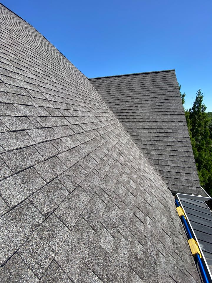 Steep roof inspection in Franklin.