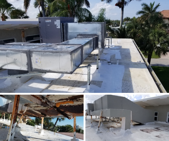 Deerfield Beach, FL - At this residential home in Deerfield Beach, we replace existing roof mounted sheet metal duct system. All the legs were rotted and needed to be replaced, We also removed the old duct work and installed all new duct metal on the roof. Attached are before and after photos.