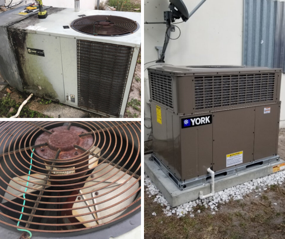 Boca Raton, FL - A Residential system in Boca Raton was not cooling properly, after a full diagnostic we discovered that this 17 year old system's condenser fan motor was seized and the condenser coil was damaged. Instead of performing costly repairs, we advised to replace the unit. Our Comfort Consultant was out to give new system replacement options to the customer, in less than 24 hour we have furnished and installed a brand new YORK unit and an updated programmable thermostat.