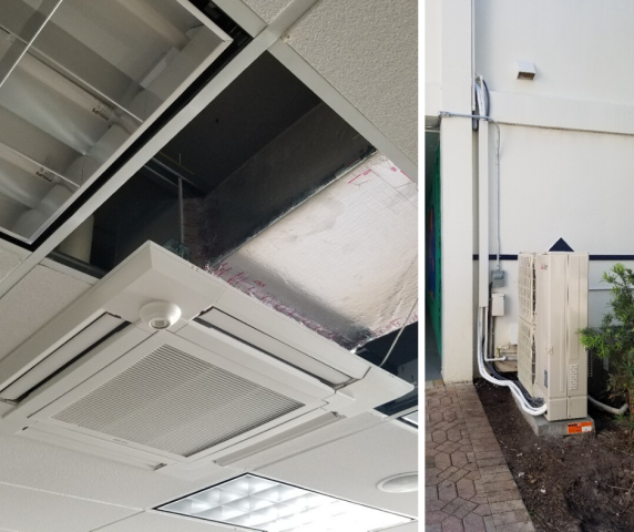 Hollywood, FL - For this Hollywood facility, we continue the installation a  3-ton Mitsubishi Mini-Split A/C system well ceiling mounted cassette for classroom 213.