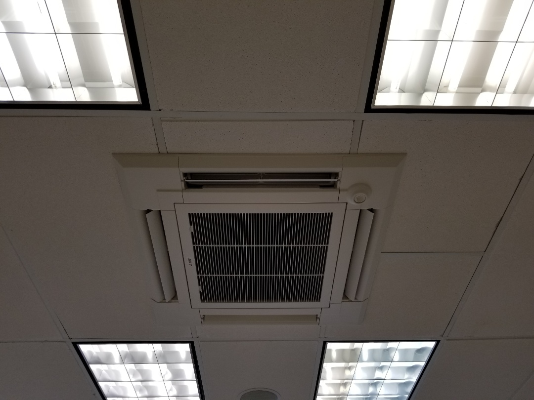 Hollywood, FL - Mitsubishi system installation.  New ceiling cassette system installation in commercial bldg. Runs quiet and efficient with low maintenance