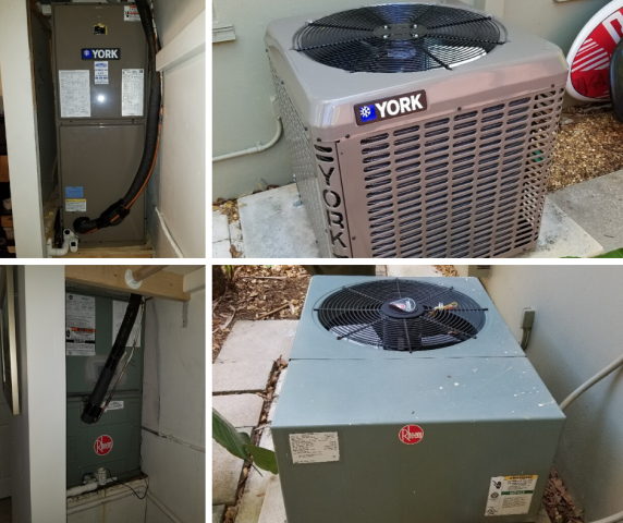 Fort Lauderdale, FL - This new customer was looking to replace her AC system. After meeting with our Comfort Consultant, she was given a few options that would fit for her home. She decided on a brand new YORK system including a Condenser Unit and Air Handler.  Below are before and after pictures of the replaced Rheem system.
