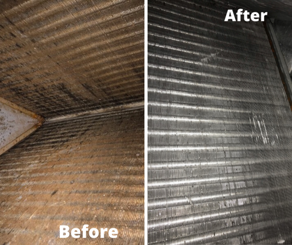 We arrived to this commercial customer's facility to clean two system's evaporator coils and blower wheels. This is a build up of dirty, dust and grime that can circulate throughout your home and hinder your system's efficiency.
