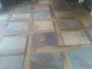 Chatham Township, NJ - Custom basket weave tile floor using porcelain tile
