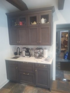 Chatham Township, NJ - Coffee bar using woodmode cabinets with quarts countertop