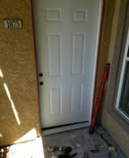 Las Vegas, NV - Installing a new exterior door and frame.