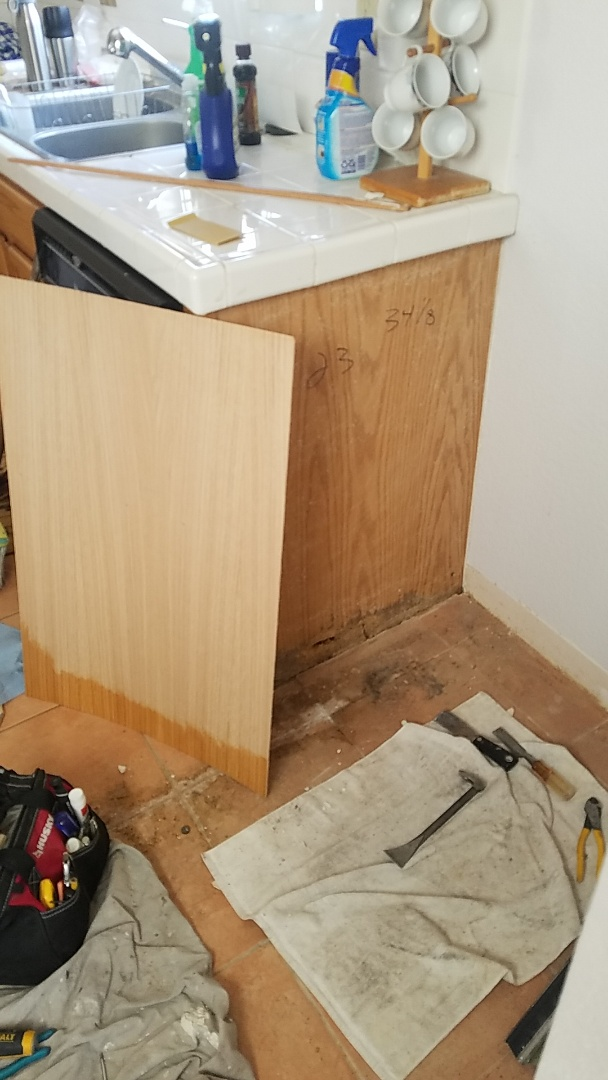 Finished installation of a new red-oak veneer end-panel, for a damaged cabinet. Las Vegas Handyman service!