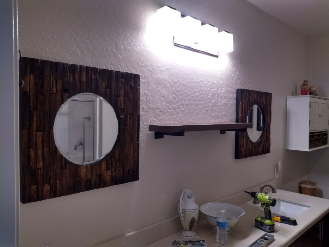 Finished installation for 2x customer supplied mirrors, and 1x shelf in the master bathroom. Las Vegas Handyman service.