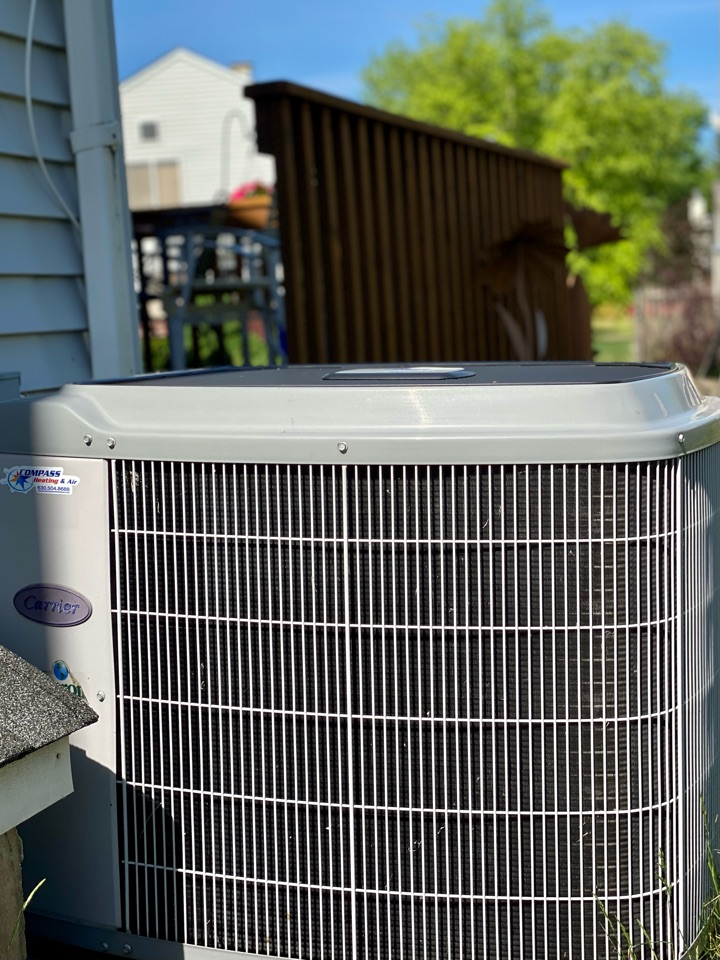 Bartlett, IL - Air conditioning clean and check on a Carrier unit.