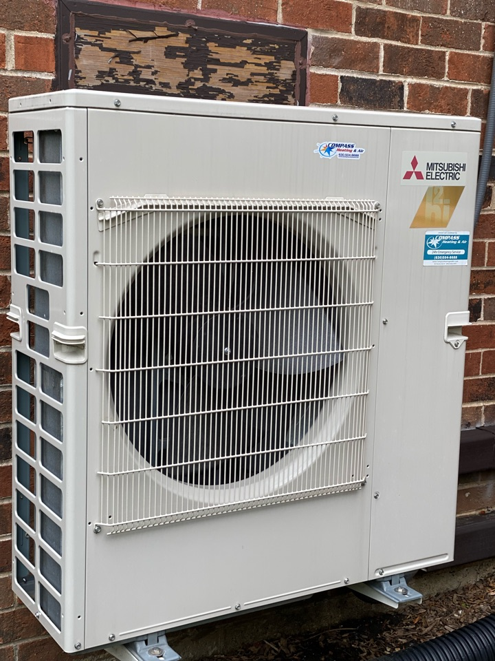 Schaumburg, IL - Air conditioning clean and check on a two zone Mitsubishi mini split.