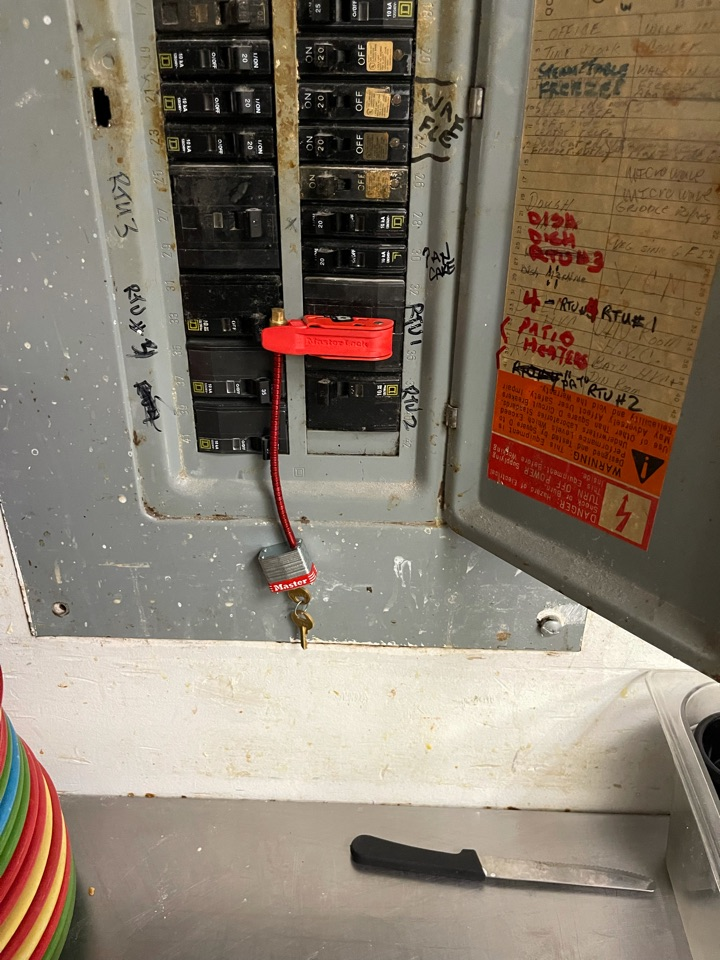 Electrical repairs on a roof top unit