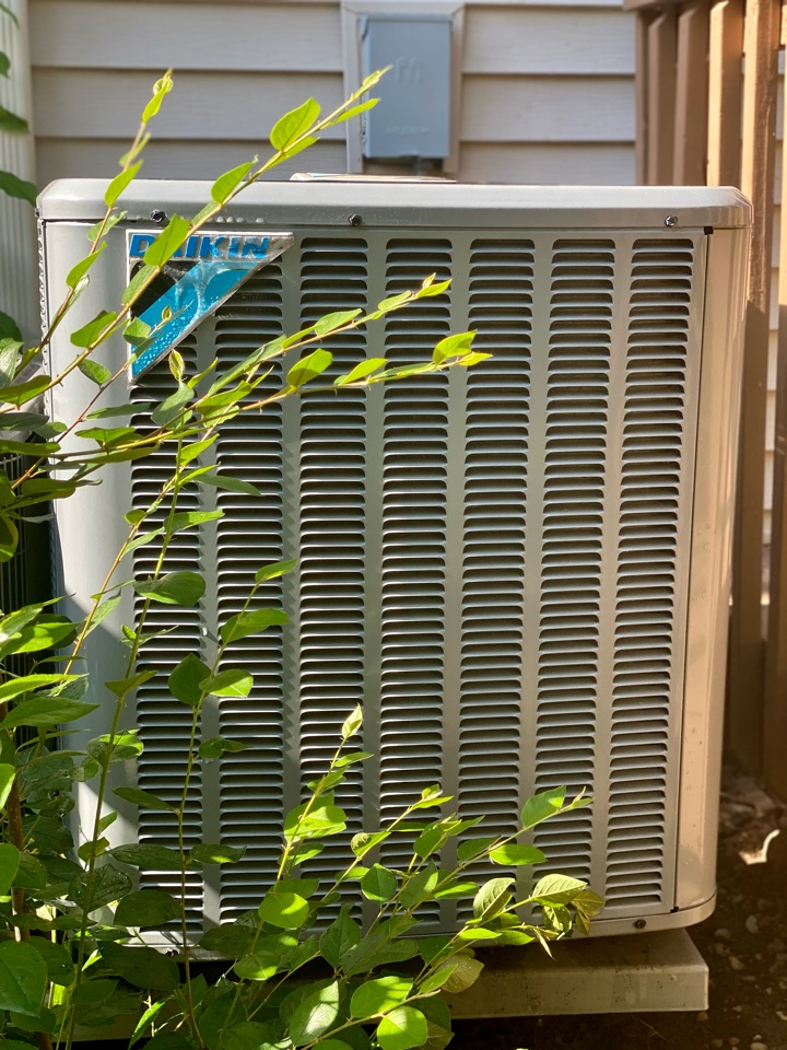 Hoffman Estates, IL - Air conditioning clean and check on a Daikin unit.