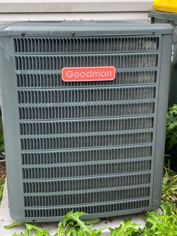 Air conditioning clean and check on a Goodman unit.