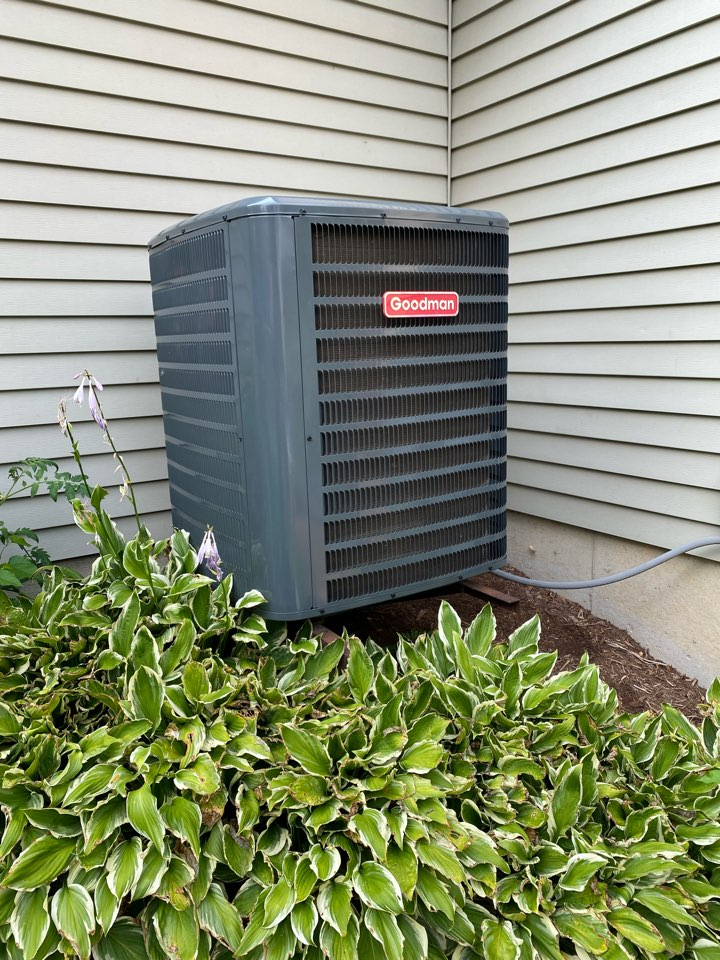 West Dundee, IL - Air conditioning clean and check on a Goodman unit.