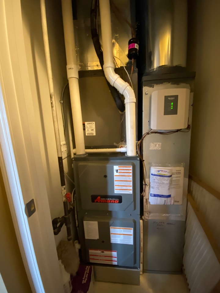 Furnace clean and check on an Amana unit.