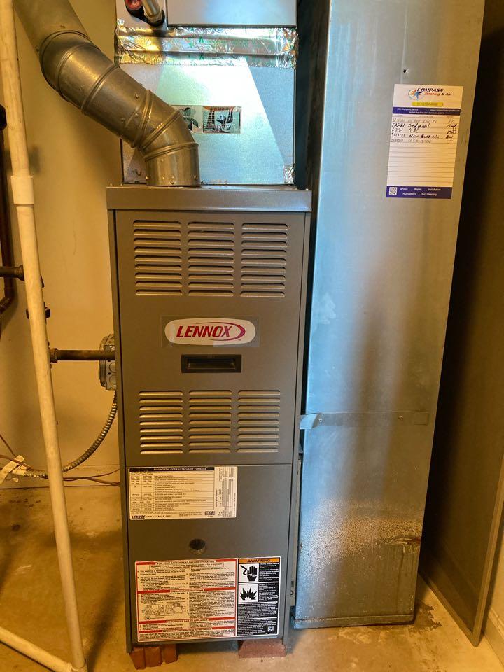 Furnace repair & clean/check on a Lennox unit.