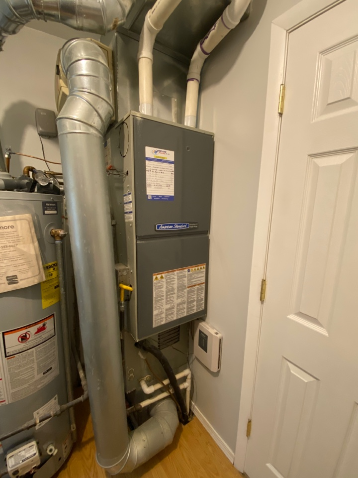 Furnace clean and check on an American Standard furnace.