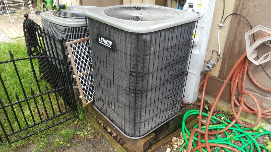 "Barrington, IL - Repairing a Lennox air conditioner/ heat pump, during a ""no cooling"" service call."